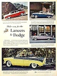 Click here to enlarge image and see more about item AU0713B2: 1956 DODGE LANCERS Auto Mag. Ad