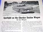 Click here to enlarge image and see more about item AU831A4: 1963 CHECKER STATION WAGON Automobile Magazine Article