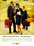 Click here to enlarge image and see more about item AV0121B1: 1964 TWA Airlines - Stewardess Magazine Ad