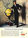 Click here to enlarge image and see more about item AV0121E5: 1962 TWA Airline - Pilot Magazine Ad
