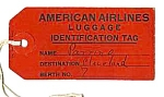 Click here to enlarge image and see more about item AV0504AA1: c.1940 American Airlines LUGGAGE TAG