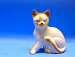 Click here to enlarge image and see more about item CAT703A1: Gorgeous VINTAGE Pottery SIAMESE CAT Figurine