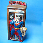Click here to enlarge image and see more about item CH0526A1-2008: 1978 SUPERMAN in Phone Booth COOKIE JAR