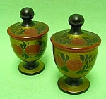 Click here to enlarge image and see more about item DEC0803AA1: USSR Turned Wood Footed EGG CUPS with Decorated Lids