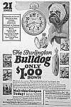 Click here to enlarge image and see more about item DG1130AA: 1924 Burlington/BULLDOG Pocket Watch Ad