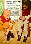 Click here to enlarge image and see more about item DI0710A1: Adorable 1971 WINNIE THE POOH Shoes Ad