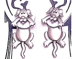 Click here to enlarge image and see more about item DOGEARS: Pewter Earrings - 2 Piece DOG EARRINGS