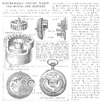 Click here to enlarge image and see more about item ELECWATC: 1921 First? Battery POCKET WATCH Mag. Article