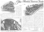 Click here to enlarge image and see more about item FASTTRAI: 1927 FASTEST TRAIN 20th Cent. LTD Mag Article