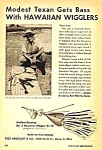 Click here to enlarge image and see more about item FISH0122A2: 1946 Fred Arbogast HAWAIIAN WIGGLER FISHING LURE Ad