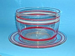 Click here to enlarge image and see more about item GL0514CC1: 1950s Red/White STRIPED GLASS BOWL/Underplate