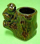 Click here to enlarge image and see more about item GL0803AA4: The Cutest VINTAGE MONKEY on Stump TOOTHPICK HOLDER