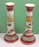 Signed LIZ VIGODA Art Pottery Candlesticks