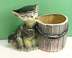 Click here to enlarge image and see more about item GL1230A7: Early Smug COMICAL CAT Pottery Planter