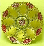 Click here to enlarge image and see more about item GL526AA2: Early REVERSE PAINTED on Glass Dish: ROSES