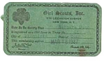 1937 GIRL SCOUT Membership Card
