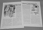 1927 TRUTH ABOUT GHOSTS Mag. Article