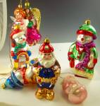 Click here to enlarge image and see more about item HO092816A1: Lot 7 Blown Glass Ornaments SANTA SNOWMEN ANGELS