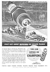 Click here to enlarge image and see more about item MAU030507D9: 1937 CHAMPION SPARK PLUGS Ad - Racing Theme
