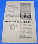 Click here to enlarge image and see more about item MC0105A1: 1963 HARLEY DAVIDSON Motorcycle Ad