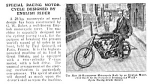 1922 RACING MOTORCYCLE Mag. Article