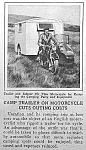 1927 MOTORCYCLE/CAMP TRAILER Mag. Article