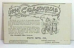Click here to enlarge image and see more about item MC1005A1: 1894 COLUMBIAS - Pope Mfg Co - BICYCLE Adv. Card