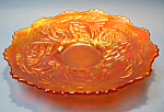 Click here to enlarge image and see more about item MGL101507F1: FENTON Pine Cone CARNIVAL GLASS Plate - Marigold