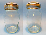 Click here to enlarge image and see more about item MGL10150G1A: Two Vintage Glass CHEESE JARS Dispensers