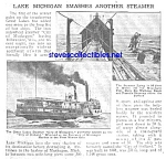 Click here to enlarge image and see more about item MHI030707G9: 1920 LAKE MICHIGAN Smashes Steamer Boat Article