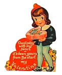 Click here to enlarge image and see more about item MHO112706E1: 1940s Diecut Girl Stand-up VALENTINE CARD