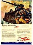 1943 WWII FISHER CAR BODY Ad - Military Theme
