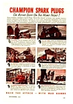 1943 WWII CHAMPION SPARK PLUGS Ad - Military Theme