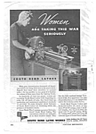Click here to enlarge image and see more about item MMIL040306B6: 1943 WWII SOUTH BEND LATHES Ad - Women Military Theme