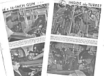 1943 INSIDE THE BATTLESHIP TURRET - WWII Mag. Article
