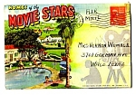 Click here to enlarge image and see more about item MMV112006C6: 1940s HOMES OF THE MOVIE STARS Fold-out Postcard