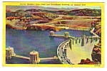 Click here to enlarge image and see more about item MPC121206F5: 1954 HOOVER (BOULDER) DAM Arizona Linen Postcard