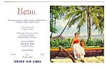 Click here to enlarge image and see more about item MPC121206G9: 1950s UNITED AIRLINES MENU Postcard