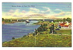 1946 BOURNE BRIDGE Cape Cod Mass. Linen Postcard