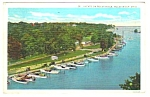 Click here to enlarge image and see more about item MPC121806E9: 1932 YACHTS ON ROCKY RIVER, Ohio Postcard