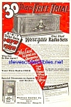 Click here to enlarge image and see more about item MRA010407F6: 1927 WESTGALE WOODEN RADIO Mag. Ad
