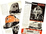 1940 RAILROAD LOCOMOTIVES-Steam Vs. Diesel Mag. Article