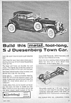 Click here to enlarge image and see more about item MTY122806B1: 1965 HUBLEY METAL DUESENBERG Town Car TOY Ad