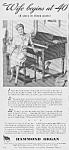 Click here to enlarge image and see more about item MU0614AA1: 1944 HAMMOND ORGAN Music Room Ad