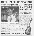 Click here to enlarge image and see more about item MU0715AAX: 1939 SLINGERLAND GUITAR/Drums Ad