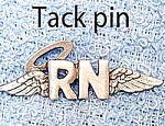 Click here to enlarge image and see more about item NURSEWINGS: RN Angel Wings PEWTER PIN