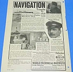1922 NAVIGATION TAUGHT BY MAIL Magazine Ad