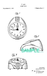 Click here to enlarge image and see more about item PAT0214AA4: Patent Art: 1950s Lux Art Deco ALARM CLOCK - Matted