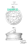 Click here to enlarge image and see more about item PAT0214CC3: Patent Art: 1930s Lux ROTARY SUNDIAL CLOCK - Matted