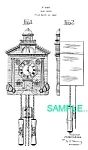 Click here to enlarge image and see more about item PAT0214DD1: Patent Art: 1940s Lux TOWN HALL NOVELTY CLOCK - Matted